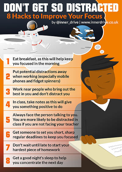 8 hacks to improve your focus and stop getting distracted infographic poster