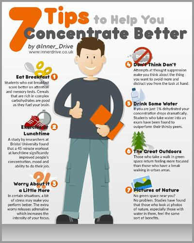 7 tips to help you concentrate better infographic