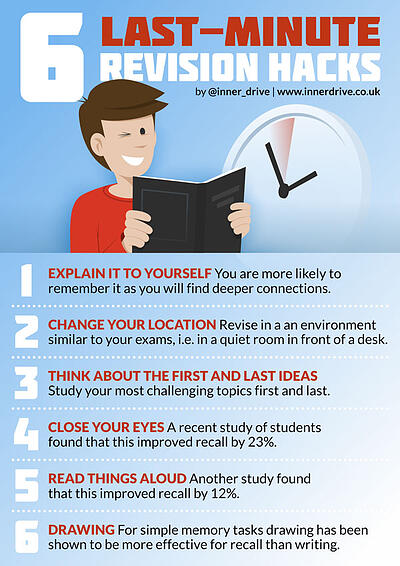 6 last-minute revision hacks infographic poster