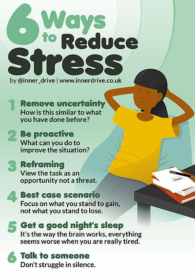6 ways to reduce stress infographic