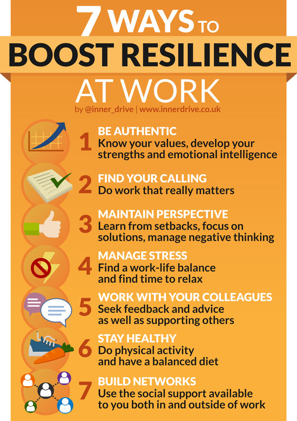 7 ways to boost resilience at work infographic