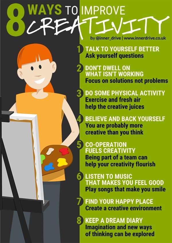 8 ways to improve creativity infographic