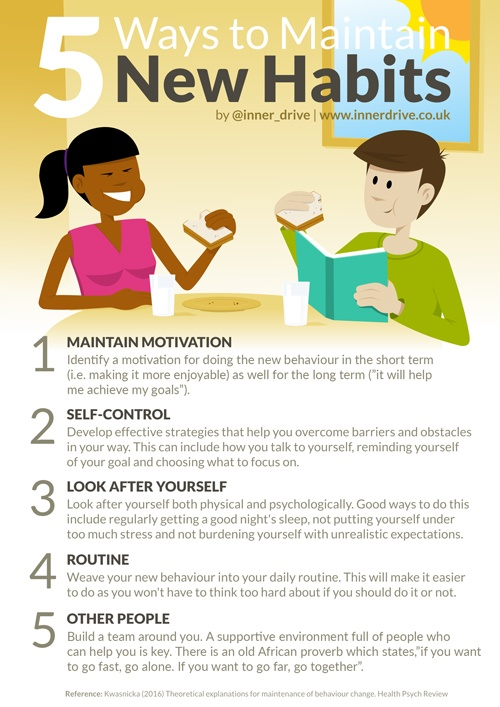 5 ways to maintain new habits infographic