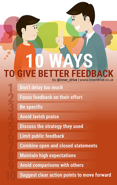 10 ways to give better feedback infographic