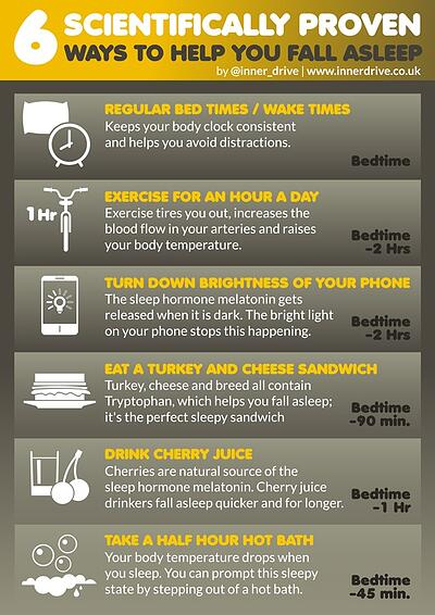 6 scientifically proven ways to help you fall asleep infographic