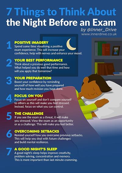7 things to think about the night before an exam infographic poster