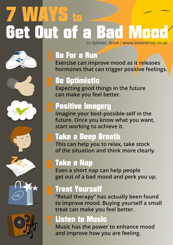 7 ways to get out of a bad mood infographic