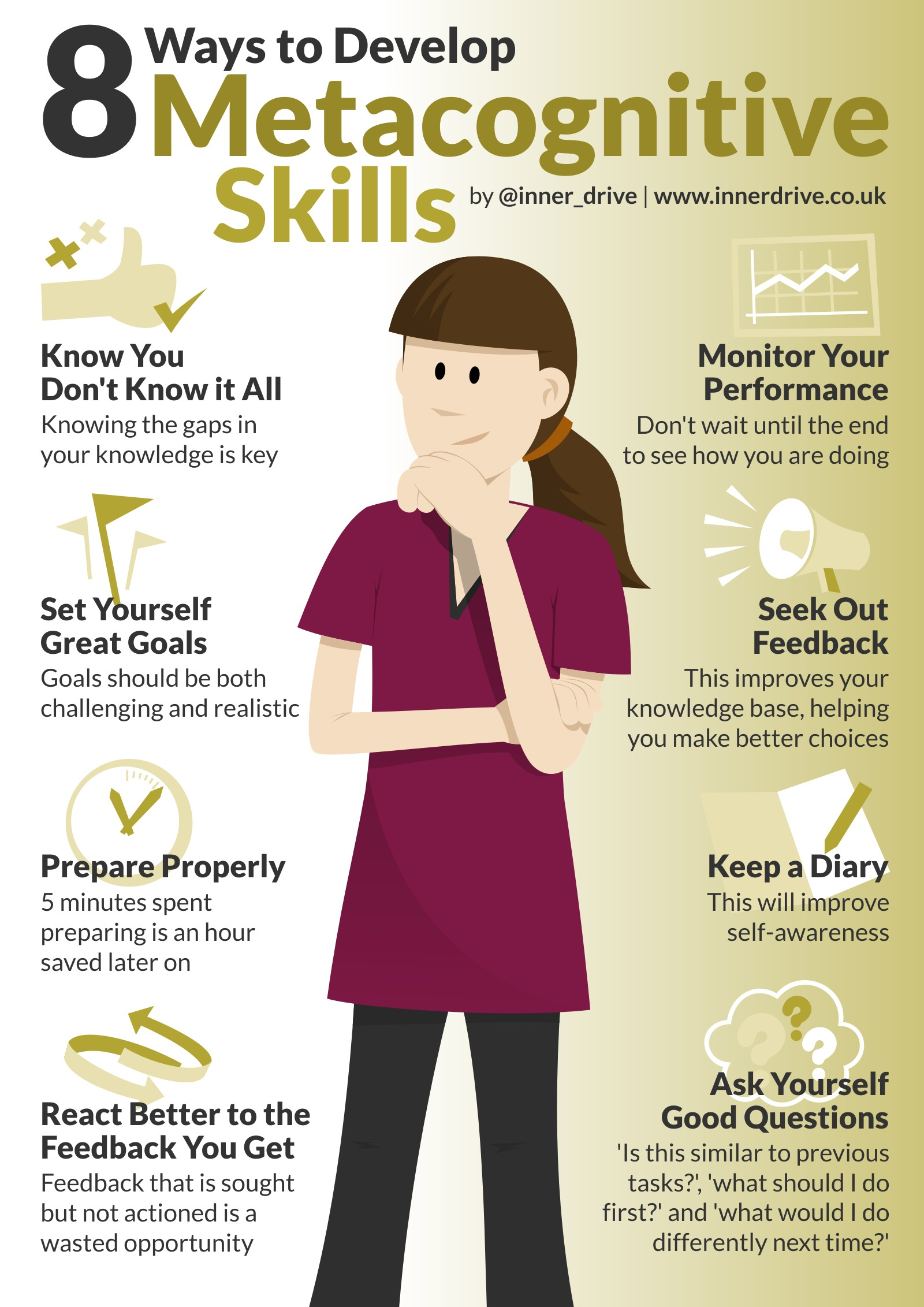 8 ways to develop metacognitive skills infographic