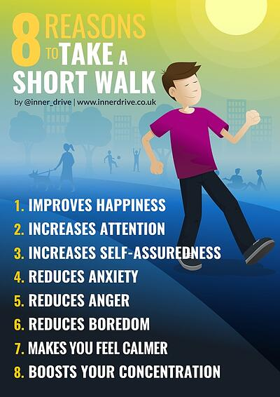 8 reasons to take a short walk infographic