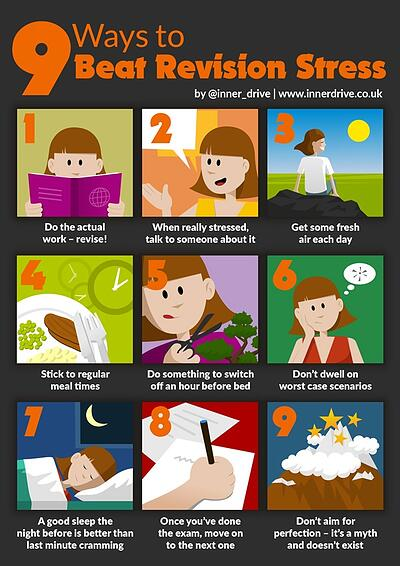 9 ways to beat revision stress infographic