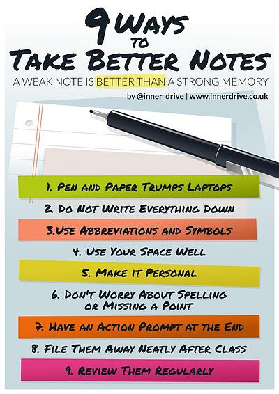 9 ways to take better notes infographic poster