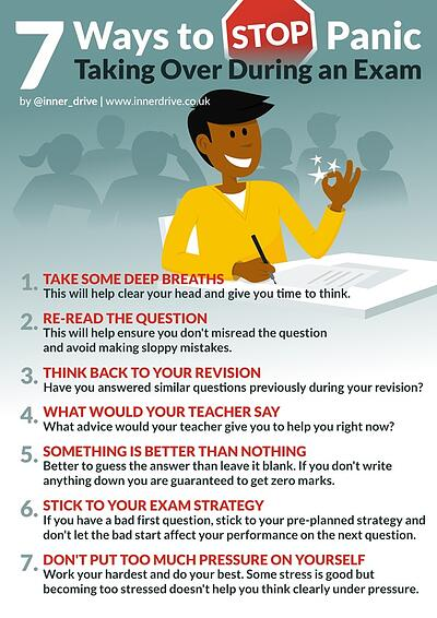 7 ways to stop panic taking over during an exam