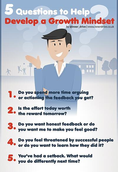 5 questions to help develop a growth mindset infographic