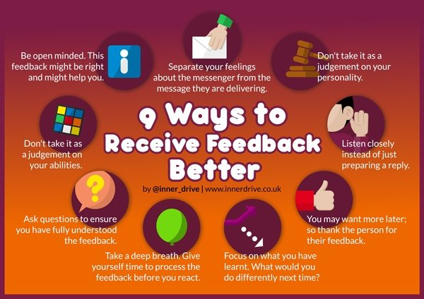 9 Ways to Receive Feedback better infographic