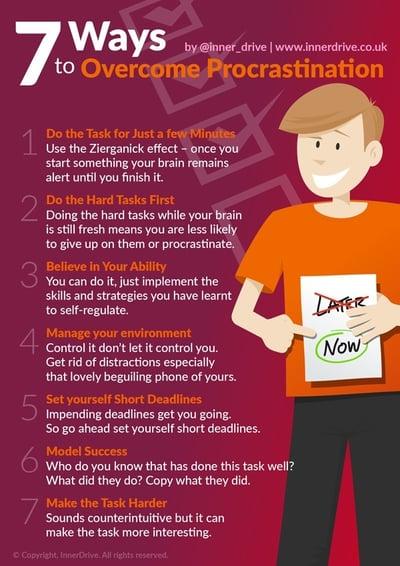 7 ways to overcome procrastination infographic