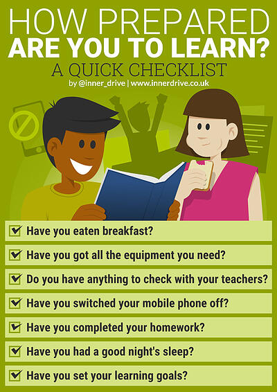 How prepared are you to learn? A student checklist infographic poster