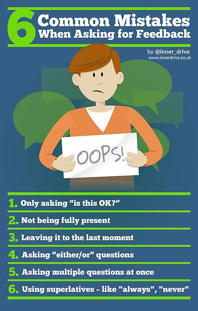 6 commons mistakes when asking for feedback infographic